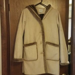Faux Suede & Fur Hooded Coat SP